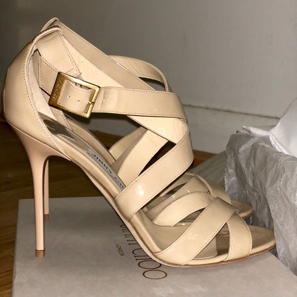 c4acdb58c New Jimmy Choo patent leather nude Lottie sandal 9